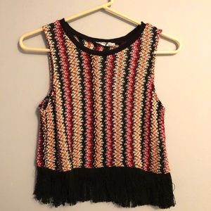 Zara rainbow knit crop top